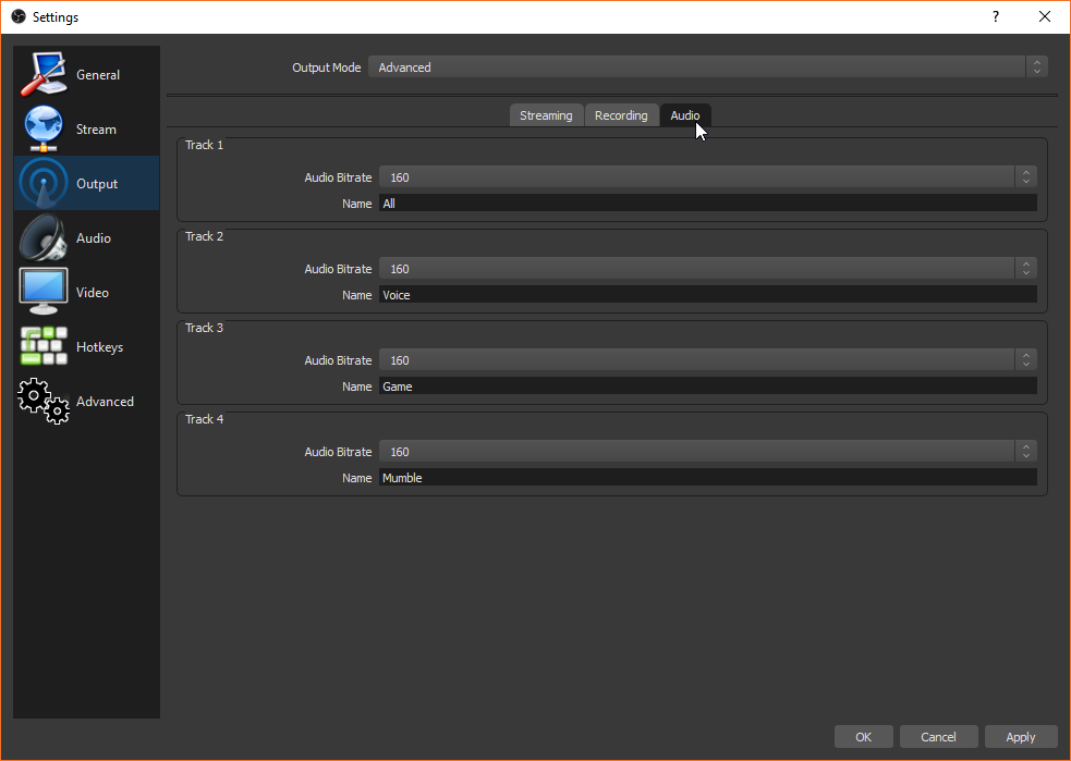 OBS Studio Output Audio Settings